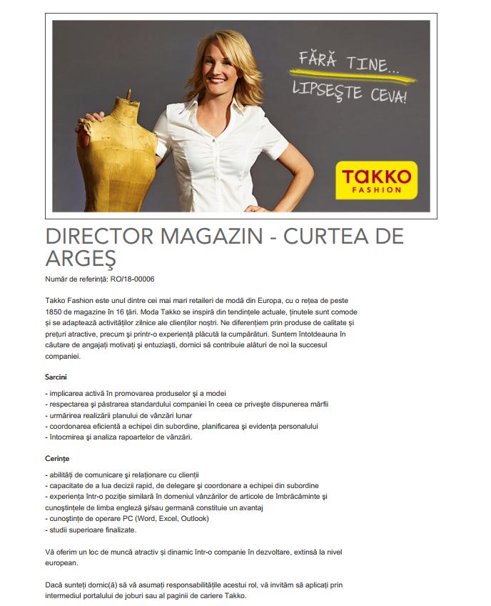 Takko este unul dintre cei mai mari comercianţi de produse textile din Germania. In cele peste 1800 de magazine din Europa, compania de modă cu sediul in Telgte - Vestfalia, oferă articole de modă de calitate, la preţuri convenabile, pentru toţi membrii familiei. Pentru mai multe detalii, vizitaţi site-ul www.takko.ro