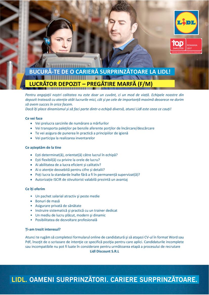 Lucrător Depozit Pregătire Marfă - Depozit Lugoj (f/m)