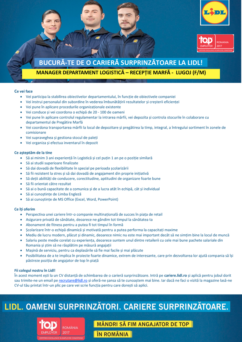 Manager Departament Logistică - Recepție Marfă - Lugoj (f/m)