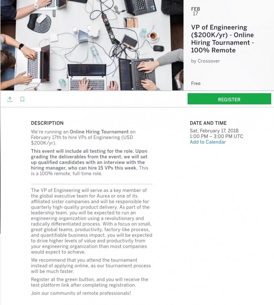 Online Hiring Tournament - Vice President of Engineering