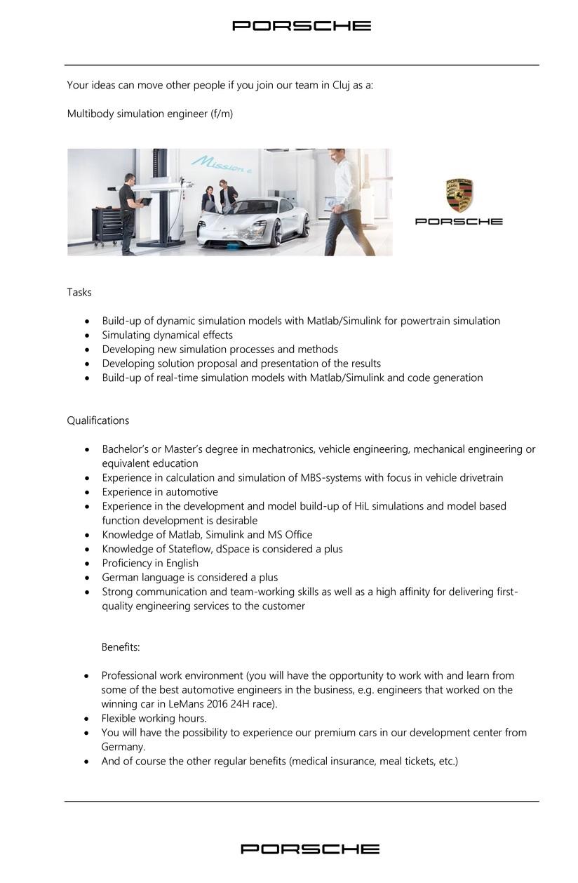 Multibody simulation engineer (f/m), Porsche Engineering Romania