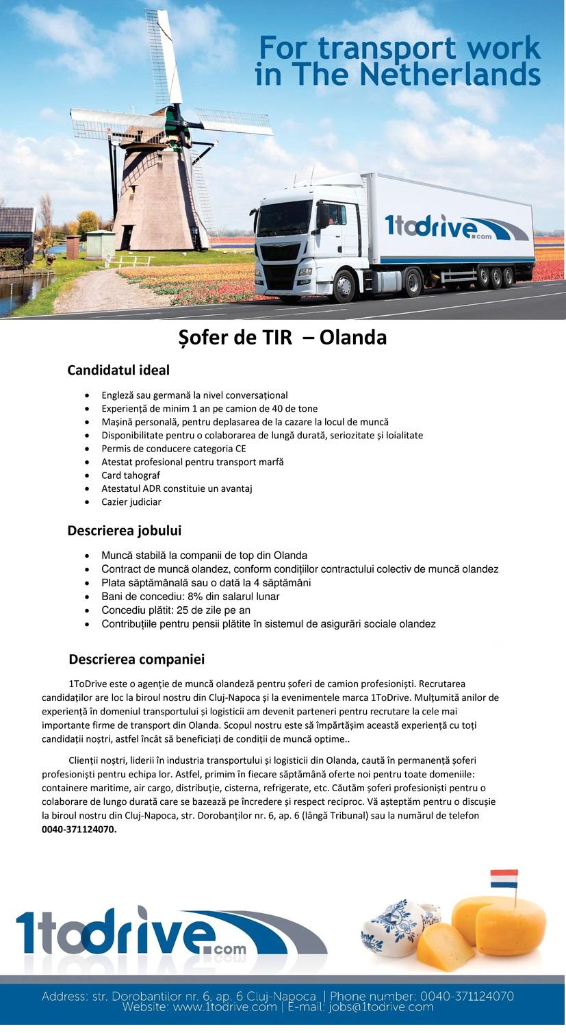 1ToDrive este o agenție de muncă olandeză pentru șoferi de camion profesioniști. Clienții noștri, liderii în industria transportului și logisticii din Olanda, caută în permanență șoferi profesioniști pentru echipa lor. Astfel primim în fiecare săptămână oferte noi pentru toate domeniile.  Recrutarea candidaților are loc la biroul nostru din Cluj-Napoca și la evenimentele marca 1todrive. Mulțumită anilor de experiență în domeniul transportului și logisticii am devenit parteneri pentru recrutare la cele mai importante firme de transport din Olanda. Scopul nostru este să împărtășim această experiență cu toți candidații noștri, astfel încât să beneficiați de condiții de muncă optime.  Căutăm șoferi profesioniști pentru o colaborare de lungă durată care se bazează pe încredere și respect reciproc. Așteptăm CV-ul dumneavoastră la jobs@1todrive.com !