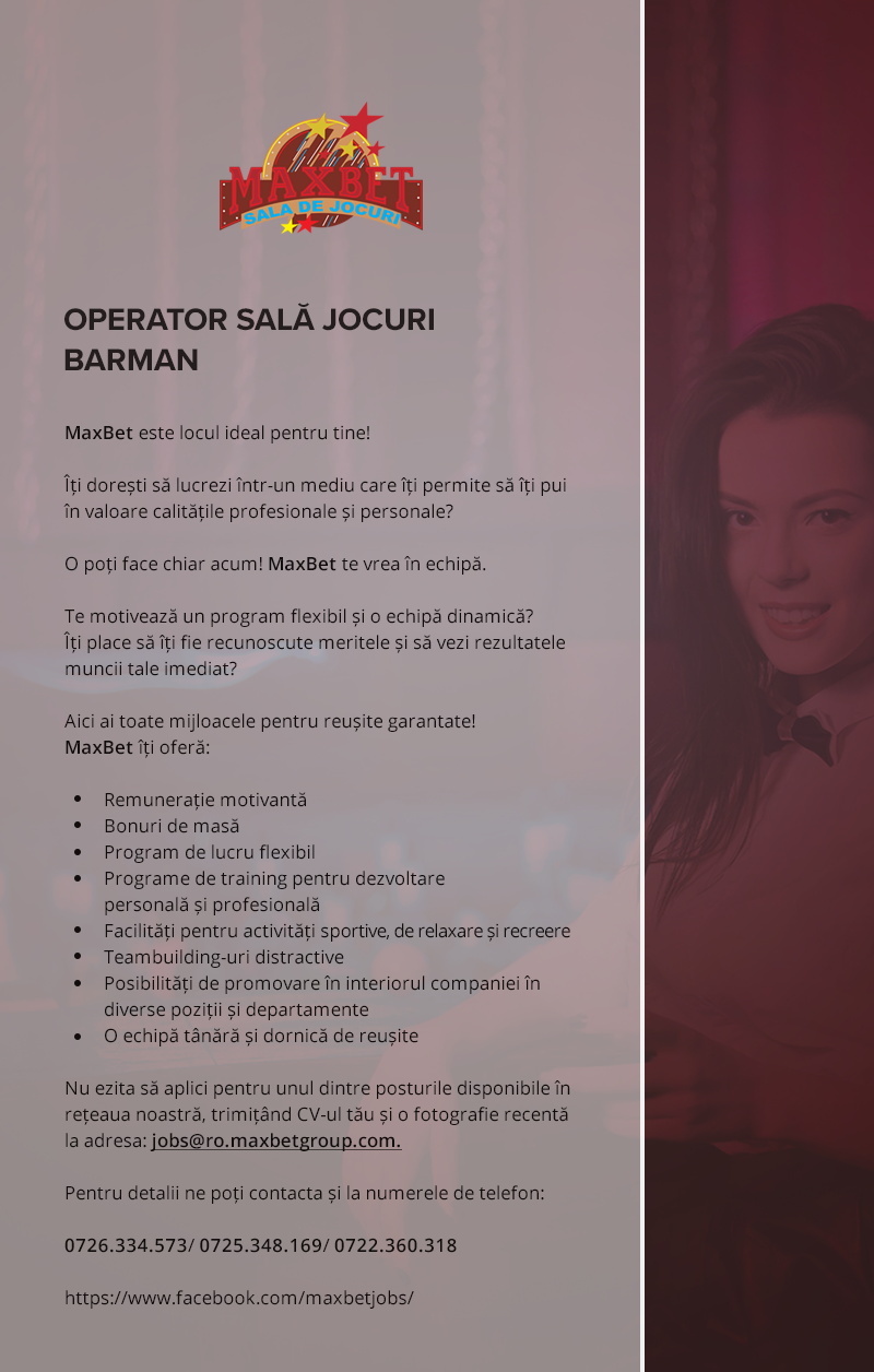 Operator Sala Jocuri / Barman
