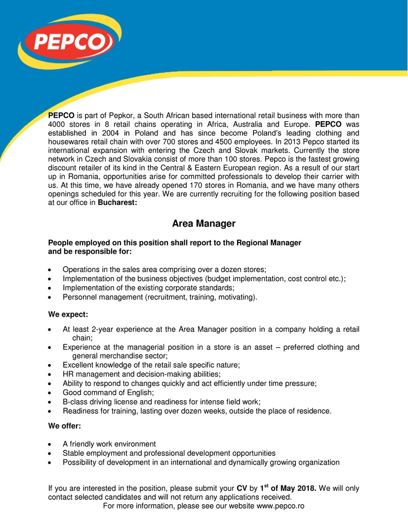 area manager  pepco retail srl