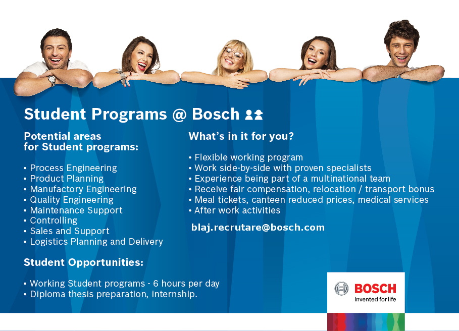 Enter the Bosch World! The Bosch Group is a leading global supplier of technology and services, in the area of automotive technology, industrial technology, consumer goods and building technology. In Blaj, it operates through three plants, with more than 3000 employees. We invite professionals for a long term rewarding career with Bosch.