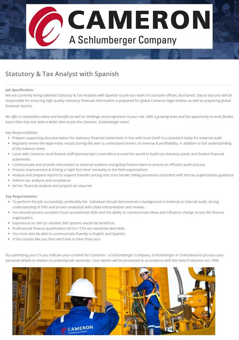 Statutory & Tax Analyst Spanish, CAMERON - Apply on eJobs!