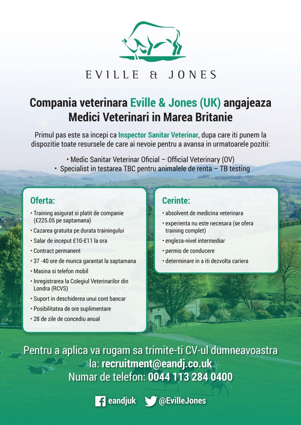 Eville&Jones este cea mai mare companie din Marea Britanie care ofera servicii de inspectie sanitara veterinara in abatoare ,acoperind 90% din aceasta Industrie inca din 1993.In ultimele 5 luni, Eville & Jones a angajat peste 100 de veterinari din Uniunea Europeana, din tari precum Spania, Portugalia, Italia, Romania, Grecia si Polonia, iar peste 90% dintre ei sunt tineri absolventi.FSA (Food Standard Agency) este organismul responsabil cu implementarea si respectarea legislatiei in vigoare referitoare la controlul si inspectia/expertiza produselor alimentare (carne) iar echipa FSA este formata din Inspectorii Sanitari Veterinari si Oficialii Veterinari, care sunt angajati ai Eville&Jones, pricipalul furnizor de servicii sanitar veterinare in Anglia, Tara Galilor si Irlanda de Nord.