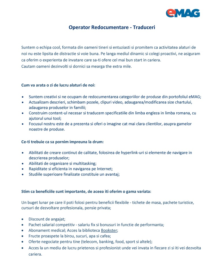 Operator Redocumentare Traduceri