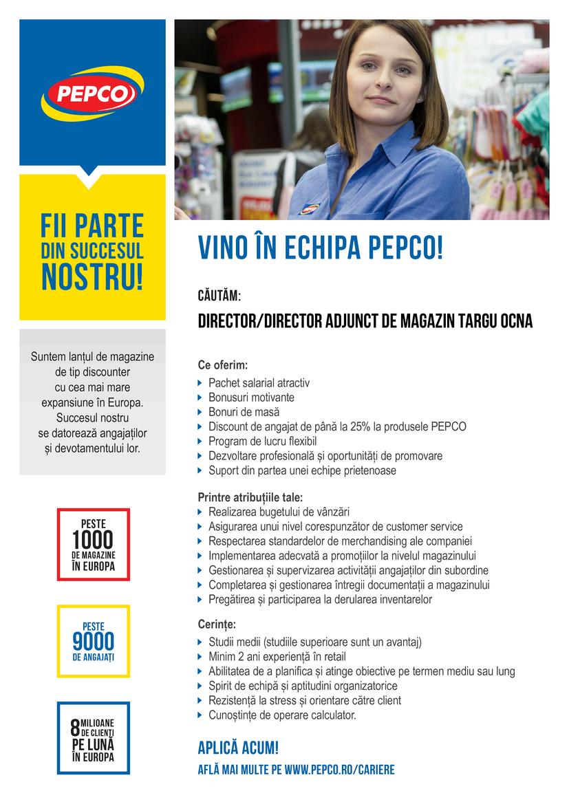 PEPCO este parte a Pepkor, un grup internațional de retail cu peste 3.500 de magazine în Africa, Australia si Europa. PEPCO și-a început activitatea în Polonia în anul 2004 și a devenit leader de piață pe segmentul de îmbrăcăminte și produse de uz caznic cu peste 600 de magazine și 4.500 de angajați. În 2013 PEPCO și-a startat dezvoltarea internațională cu intrarea pe piețele din Slovacia și Cehia. În prezent rețeaua de retail din Cehia și Slovacia a ajuns la peste 100 de magazine. PEPCO este discount retailerul cu cea mai rapidă expansiune în zona Europei Centrale și de Est. Ca urmare a deciziei de dezvoltare a rețelei și în Romania căutăm persoane ambițioase, etice si dinamice care să se alăture echipei noastre. In acest moment, avem deja 94 magazine deschise, iar planul de expansiune continua.