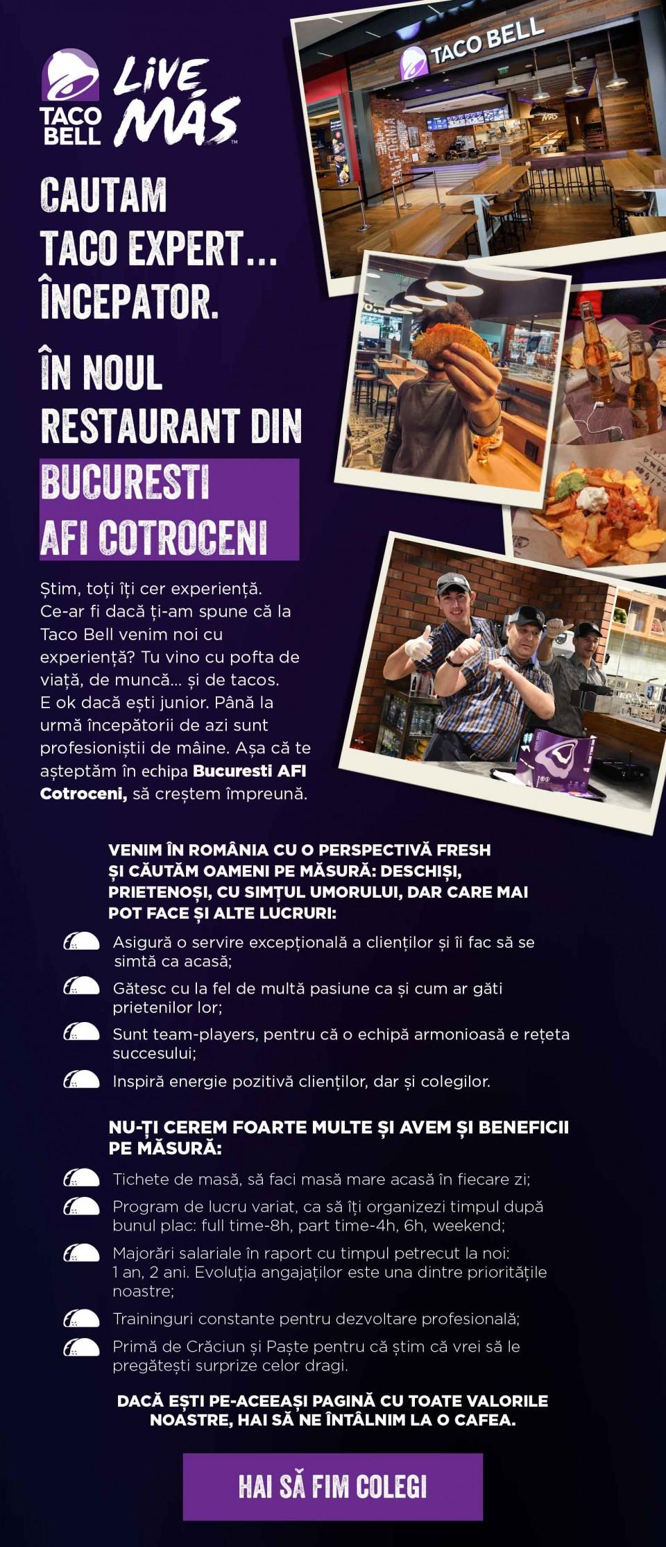 Angajăm bucătari și casieri la Taco Bell AFI Cotroceni