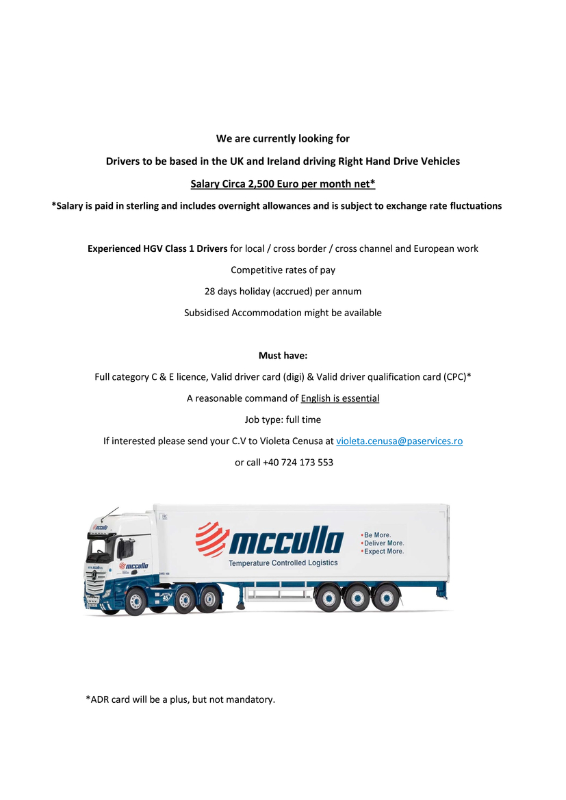 Experienced HGV Class 1 Drivers for local / cross border / cross channel and European work