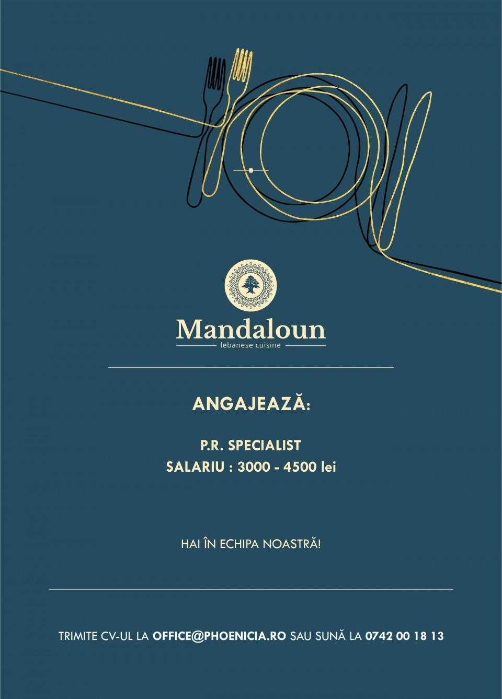 Restaurant Mandaloun angajeaza P.R.