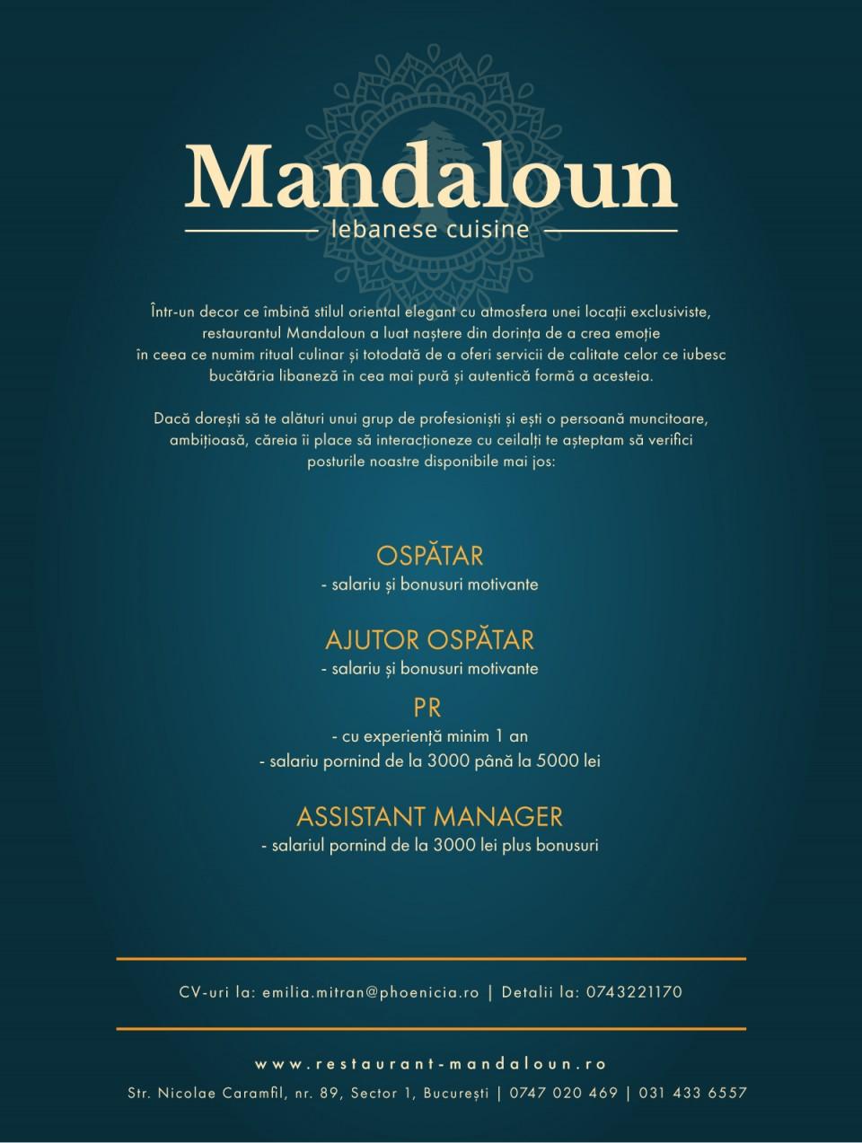 Ospatar,ajutor ospatar,PR, Assistant manager
