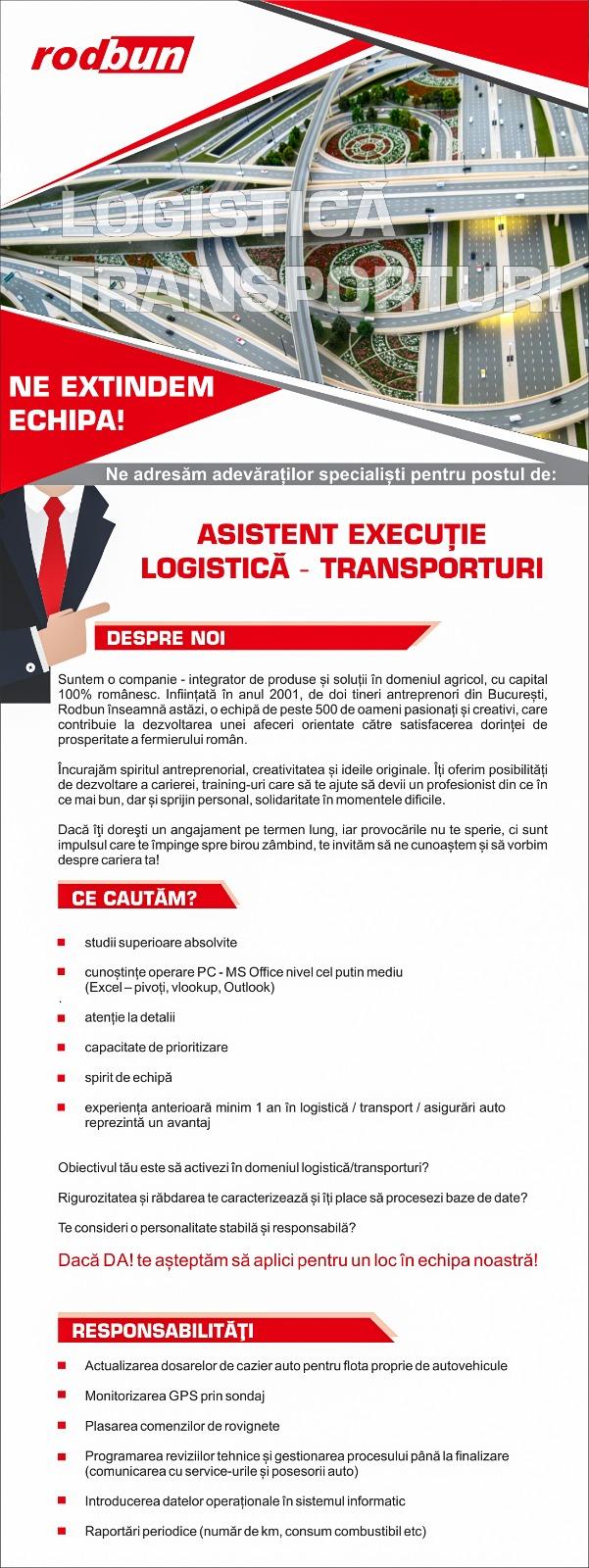 Asistent Executie Logistica-Transporturi