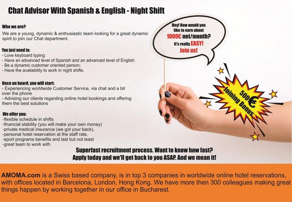 Chat Advisor With Spanish & English - Night Shift Chat Advisor With Spanish & English - Night Shift Chat Advisor With Spanish & English - Night Shift