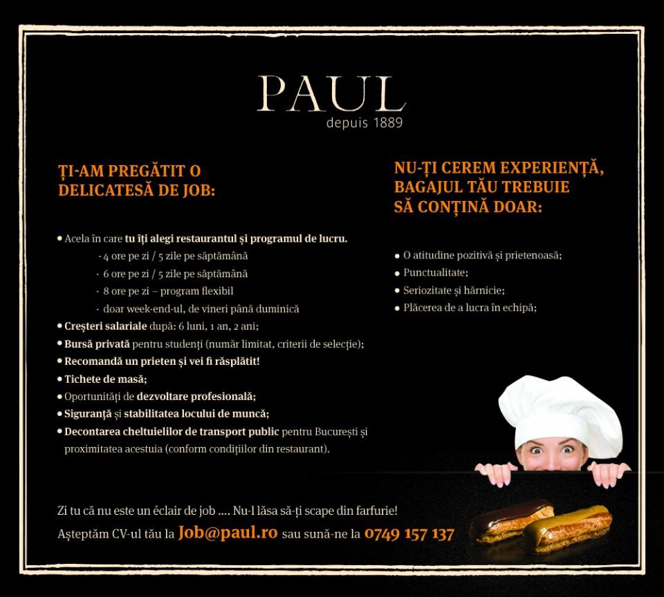 PAUL_BISTRO recruteaza pentru noua locatie AGORA FLOREASCA