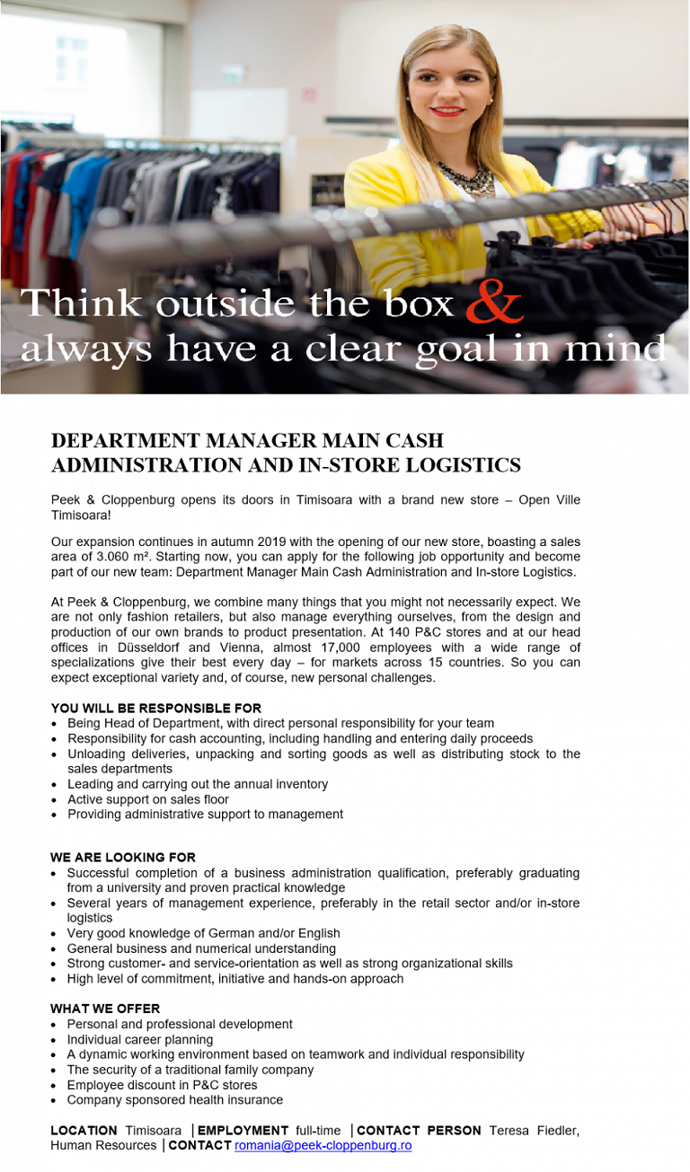 DEPARTMENT MANAGER MAIN CASH