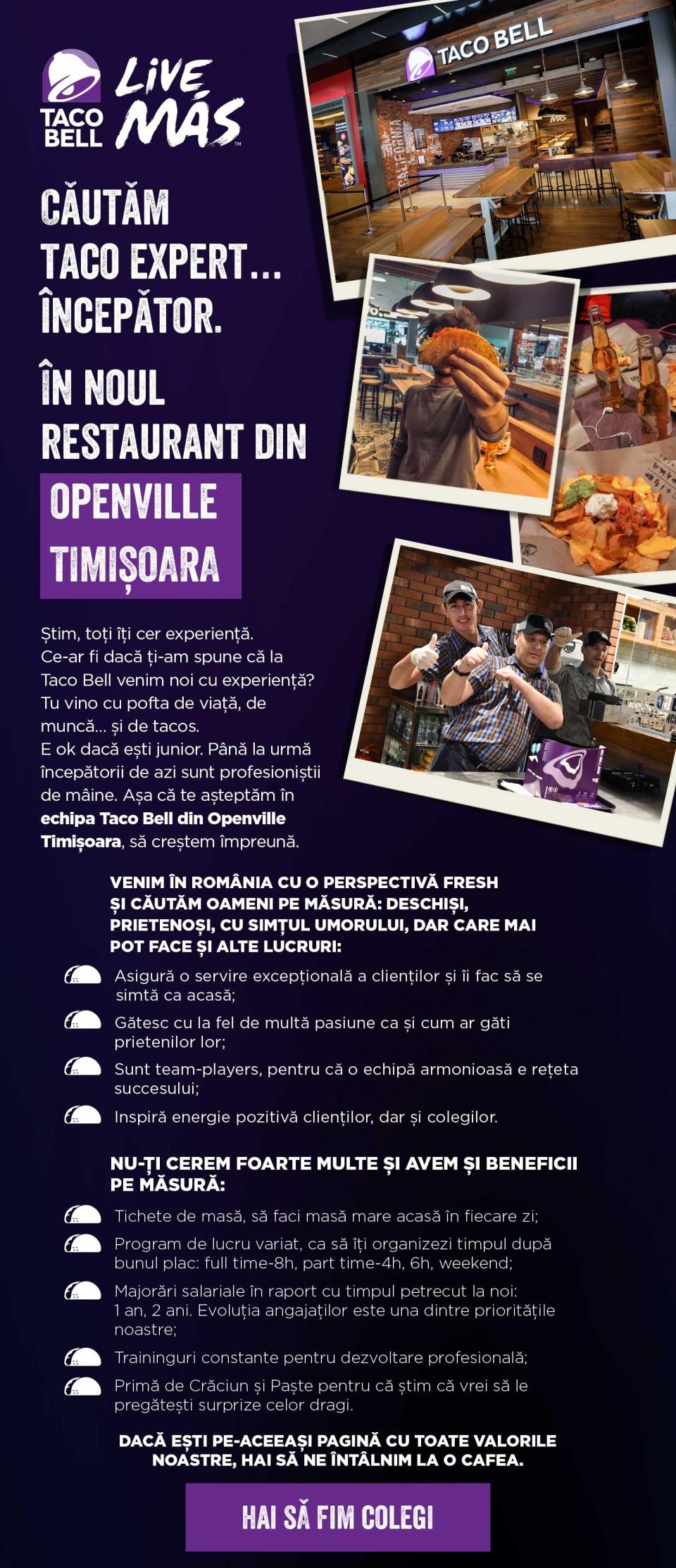 Angajăm bucătari și casieri la Taco Bell Openville Timișoara