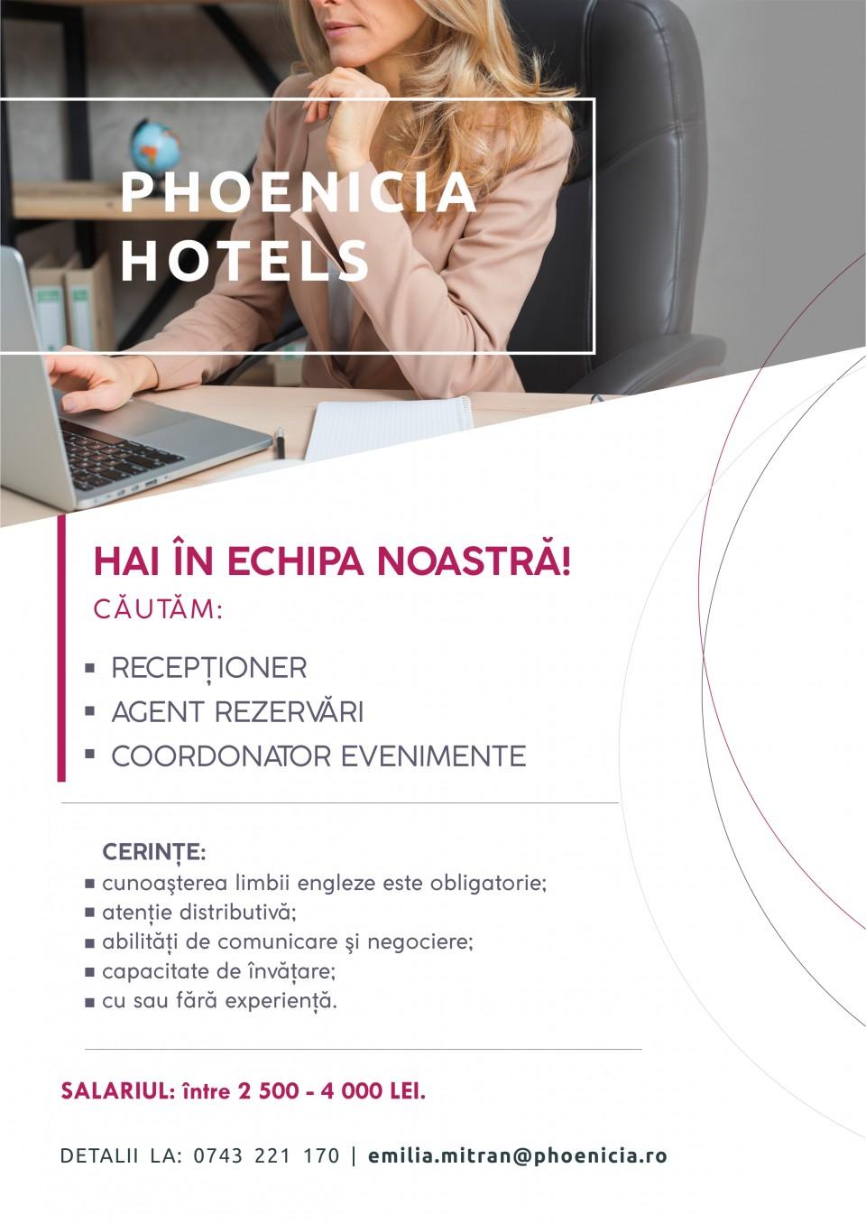 Receptioner / Agent Vanzari / Coordonator Evenimente  Phoenicia Hotels