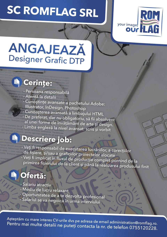 Persoana responsabila Atenta la detalii Cunostiinte avansate a pachetului Adobe : Ilustrator, In Design, Photoshop Cunoasterea avansata a limbajului HTML De preferat dar nu obligatoriu, sa fii absolvent al unei forme de invatamant de arte si design Limba engleza la nivel avansat : scris is vorbit Veti fi responsabil de executarea lucrariilor, a corectiilor de fisiere, si/sau a graficiilor proiectelor alocate Veti fi implicat in fluxul de productie complet pornind de la primirea fisierului de la client si pana la realizarea produsului finit Salariu atractiv Mediu de lucru relaxant Oportunitatea de a te dezvolta profesional  Pentru informatii si detalii nu ezitati sa ne contactati la nr. de telefon 0755120228