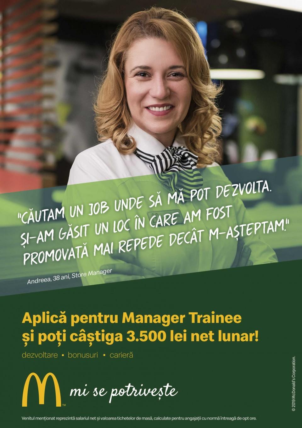 McDonald's în RomâniaCei 5.000 de angajați ai McDonald's în România știu ce înseamnă puterea unui zâmbet.  Echipa McDonald's e formată din oameni muncitori, ambițioși, pentru care interacțiunea cu alți oameni este o bucurie. În fiecare zi, angajații McDonald's întâmpină peste 210.000 de clienți. Ne dorim să aducem în echipa noastră colegi dornici să învețe și să crească în cadrul unei echipe puternice și ambițioase.  McDonald's a deschis primul restaurant în România pe 16 iunie 1995, în Unirea Shopping Center din București. A fost primul pas în construirea unei povești de succes, care se dezvoltă în fiecare an.  În 2016, McDonald's în România a devenit Premier Restaurants România, ca urmare a parteneriatului pentru dezvoltare încheiat cu Premier Capital, compania malteză care coordonează operațiunile McDonald's din șase țări europene: Estonia, Grecia, Letonia, Lituania, Malta și România.  Astăzi, McDonald's are 78 de restaurante în 23 de orașe din România și este liderul pieței de restaurante cu servire rapidă. În același timp, lanțul McCafé, are în prezent 33 de cafenele în România și crește de la an la an.  http://mcdonalds.ro