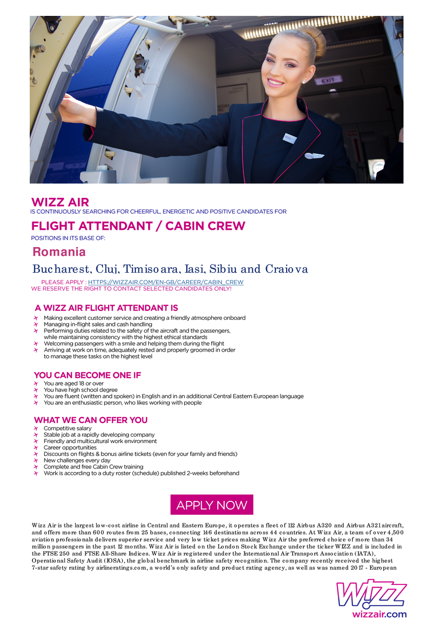 A Wizz Air Flight Attendant is: