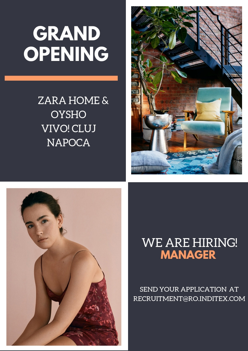 We will open soon two new brands in Cluj, Zara Home and Oysho. Come to be part of our big team!  Candidatul ideal: We are looking for highly committed professionals who adore fashion and thrive on the challenge of working in a high-energy business; who are willing to share our vision of creating a new concept in customer service. Candidate profile: - Minimum 1 year experience in fashion domain, in retail or in any other domain on a managerial position - Team management - Keen commercial/product sense - Ability to handle workload, dedication and initiative - Sense of responsibility - Communication and persuasiasion skills, capacity to transmit messages - Optimistic person - Agyle, dynamic and energetic - Good level of english language (speaking and writting) Descrierea jobului: They will be responsible for organizing and managing stores and leading highly motivated teams. The main tasks are: - Customer service - Placing orders - In-store visual merchandising - Stock management - Stocking the store - Managing the sales team, planning work schedule, training, appraisal and motivation - Organising and boosting store activity Inditex is one of the worlds largest fashion distributors, with eight sales formats -Zara, Pull and Bear, Massimo Dutti, Bershka, Stradivarius, Oysho, Zara Home y Uterque- boasting 7500 stores in 94 countries. The Inditex Group is comprised of over one hundred companies associated with the business of textile design, manufacturing and distribution. Thanks to its achievements and the uniqueness of its management model based on innovation and flexibility, Inditex is one of the largest fashion distribution groups. Our fashion philosophy -creativity and quality design together with a rapid response to market demands- has resulted in fast international expansion and excellent response to our sales concepts. The first Zara shop opened its doors in 1975 in A Coruña (Spain), the city that saw the Group's early beginnings and which is now home to its central