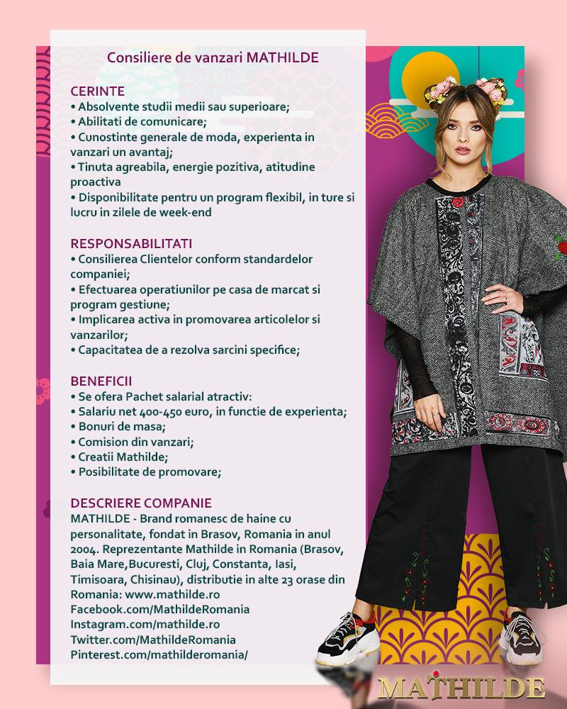 MATHILDE - brand romanesc de haine pentru femei infiintat in anul 2004. Reprezentante MATHILDE in marile orase ale tarii: Brasov, Baia Mare, Bucuresti, Cluj, Constanta, Deva, Iasi, Timisoara, prezenta in restul oraselor tarii prin francizati si distribuitori autorizati.www.mathilde.rowww.facebook.com/MathildeRomania/