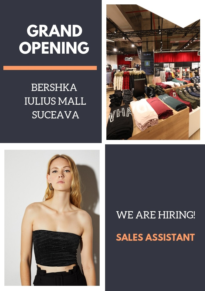 In curand dеschidem mаgаzinul Bershka in Sucеаva! Alaturа-te еchipеi Bershka pe pozitia de Consiliеr vаnzаri  Vino in еchipа noastrа si vеi beneficia de: Contract pe perioada nedeterminata Program part time Tichete de masa Asigurare medicala 25% reducere in oricare din brandurile noastre Bonus pentru recomandarea noilor colegi Acces la BENEFIT SYSTEM 7card Acces la programe de dezvoltare in cadrul companie Responsabilitati: Activitati specifice magazinului: receptie marfa, aranjarea produselor in magazin, inlocuirea produselor vandute. Activitati in depozit: stocare, aranjare, verificare. Activitati specifice casei de marcat. Inditex is one of the worlds largest fashion distributors, with eight sales formats -Zara, Pull and Bear, Massimo Dutti, Bershka, Stradivarius, Oysho, Zara Home y Uterque- boasting 7500 stores in 94 countries. The Inditex Group is comprised of over one hundred companies associated with the business of textile design, manufacturing and distribution. Thanks to its achievements and the uniqueness of its management model based on innovation and flexibility, Inditex is one of the largest fashion distribution groups. Our fashion philosophy -creativity and quality design together with a rapid response to market demands- has resulted in fast international expansion and excellent response to our sales concepts. The first Zara shop opened its doors in 1975 in A Coruña (Spain), the city that saw the Group's early beginnings and which is now home to its central offices. Its stores can now be found in the most important shopping districts of more than 400 cities in Europe, the Americas, Asia and Africa.