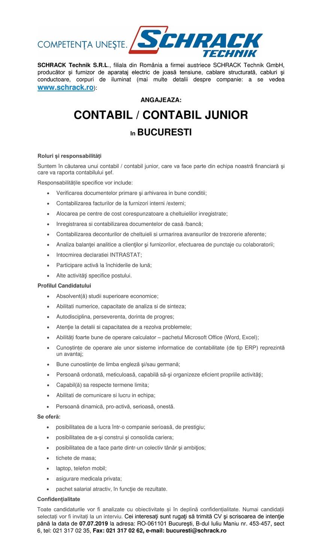 SCHRACK Technik S.R.L., filiala din România a firmei austriece SCHRACK Technik GmbH, producător şi furnizor de aparataj electric de joasă tensiune, cablare structurată, cabluri şi conductoare, corpuri de iluminat (mai multe detalii despre companie: a se vedea www.schrack.ro): ANGAJEAZA: CONTABIL / CONTABIL JUNIOR In BUCURESTI  Roluri și responsabilități Suntem în căutarea unui contabil / contabil junior, care va face parte din echipa noastră financiară şi care va raporta contabilului şef. Responsabilitățile specifice vor include: Verificarea documentelor primare şi arhivarea in bune conditii; Contabilizarea facturilor de la furnizori interni /externi; Alocarea pe centre de cost corespunzatoare a cheltuielilor inregistrate; Inregistrarea si contabilizarea documentelor de casă /bancă; Contabilizarea deconturilor de cheltuieli si urmarirea avansurilor de trezorerie aferente; Analiza balanţei analitice a clienţilor şi furnizorilor, efectuarea de punctaje cu colaboratorii; Intocmirea declaratiei INTRASTAT; Participare activă la închiderile de lună; Alte activităţi specifice postului.Profilul Candidatului Absolvent(ă) studii superioare economice; Abilitati numerice, capacitate de analiza si de sinteza; Autodisciplina, perseverenta, dorinta de progres; Atenţie la detalii si capacitatea de a rezolva problemele; Abilități foarte bune de operare calculator – pachetul Microsoft Office (Word, Excel); Cunoștințe de operare ale unor sisteme informatice de contabilitate (de tip ERP) reprezintă un avantaj; Bune cunostiințe de limba engleză şi/sau germană; Persoanǎ ordonatǎ, meticuloasǎ, capabilǎ sǎ-şi organizeze eficient propriile activitǎţi; Capabil(ă) sa respecte termene limita; Abilitati de comunicare si lucru in echipa; Persoană dinamică, pro-activă, serioasǎ, onestă.Se oferă: posibilitatea de a lucra într-o companie serioasǎ, de prestigiu; posibilitatea de a-şi construi şi consolida cariera; posibilitatea de a face parte dintr-un colectiv tânăr şi ambiţios; tichete de masa; la