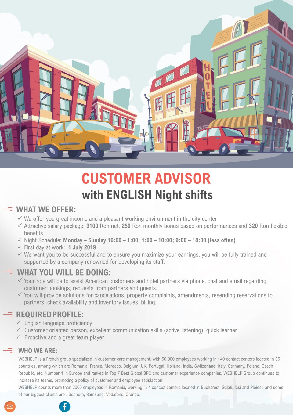 Customer Advisor with English Night Shifts