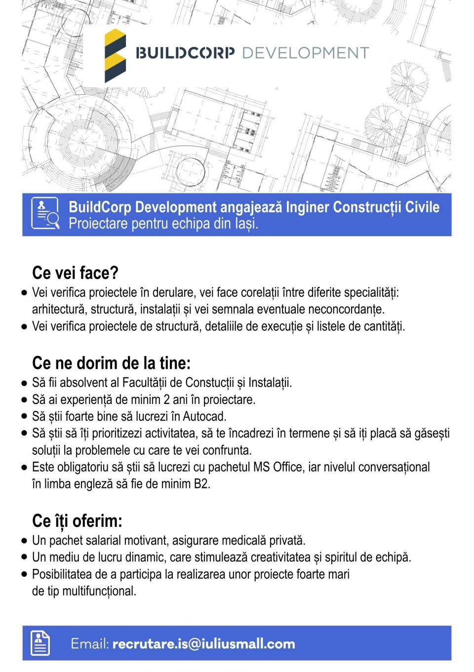 Inginer Constructii Civile, Build Corp Deveopment, Iasi