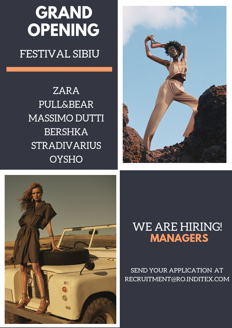 Deschidem in Festival Mall Sibiu brand-urile Zara, Bershka, Stradivarius, Pull&Bear, Massimo Dutti si Oysho. Vino sa faci parte din echipa manageriala Inditex. Inditex is one of the worlds largest fashion distributors, with eight sales formats -Zara, Pull and Bear, Massimo Dutti, Bershka, Stradivarius, Oysho, Zara Home y Uterque- boasting 7500 stores in 94 countries. The Inditex Group is comprised of over one hundred companies associated with the business of textile design, manufacturing and distribution. Thanks to its achievements and the uniqueness of its management model based on innovation and flexibility, Inditex is one of the largest fashion distribution groups. Our fashion philosophy -creativity and quality design together with a rapid response to market demands- has resulted in fast international expansion and excellent response to our sales concepts. The first Zara shop opened its doors in 1975 in A Coruña (Spain), the city that saw the Group's early beginnings and which is now home to its central offices. Its stores can now be found in the most important shopping districts of more than 400 cities in Europe, the Americas, Asia and Africa.