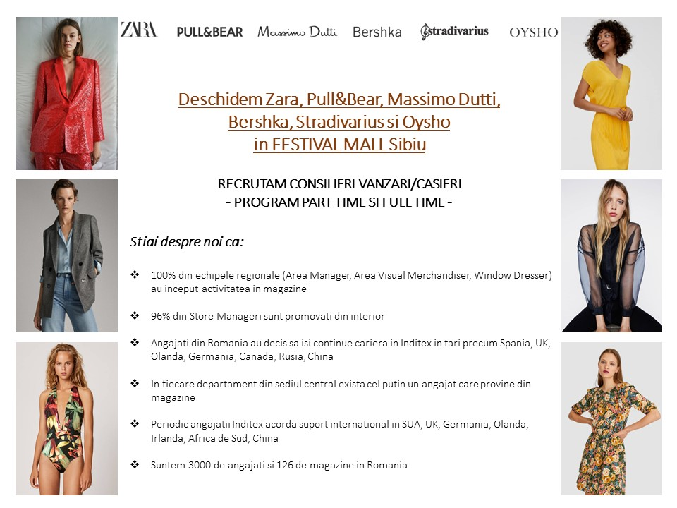 Deschidem Zara, Massimo Dutti, Oysho si Zara Home in FESTIVAL MALL Sibiu