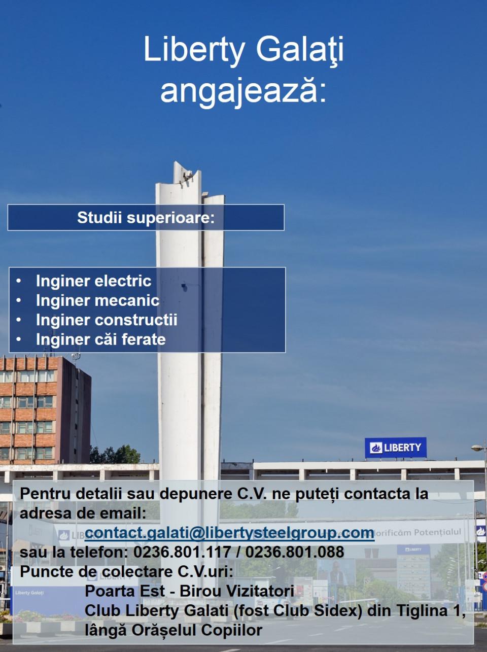 Liberty GalaţiSituat în estul României, Liberty Galaţi numără aproximativ 5.000 de angajaţi şi este cel mai mare combinat integrat din ţară şi lider în fabricarea produselor siderurgice, cu o capacitate de producţie de 3 milioane tone oţel. Galaţiul, cunoscut drept