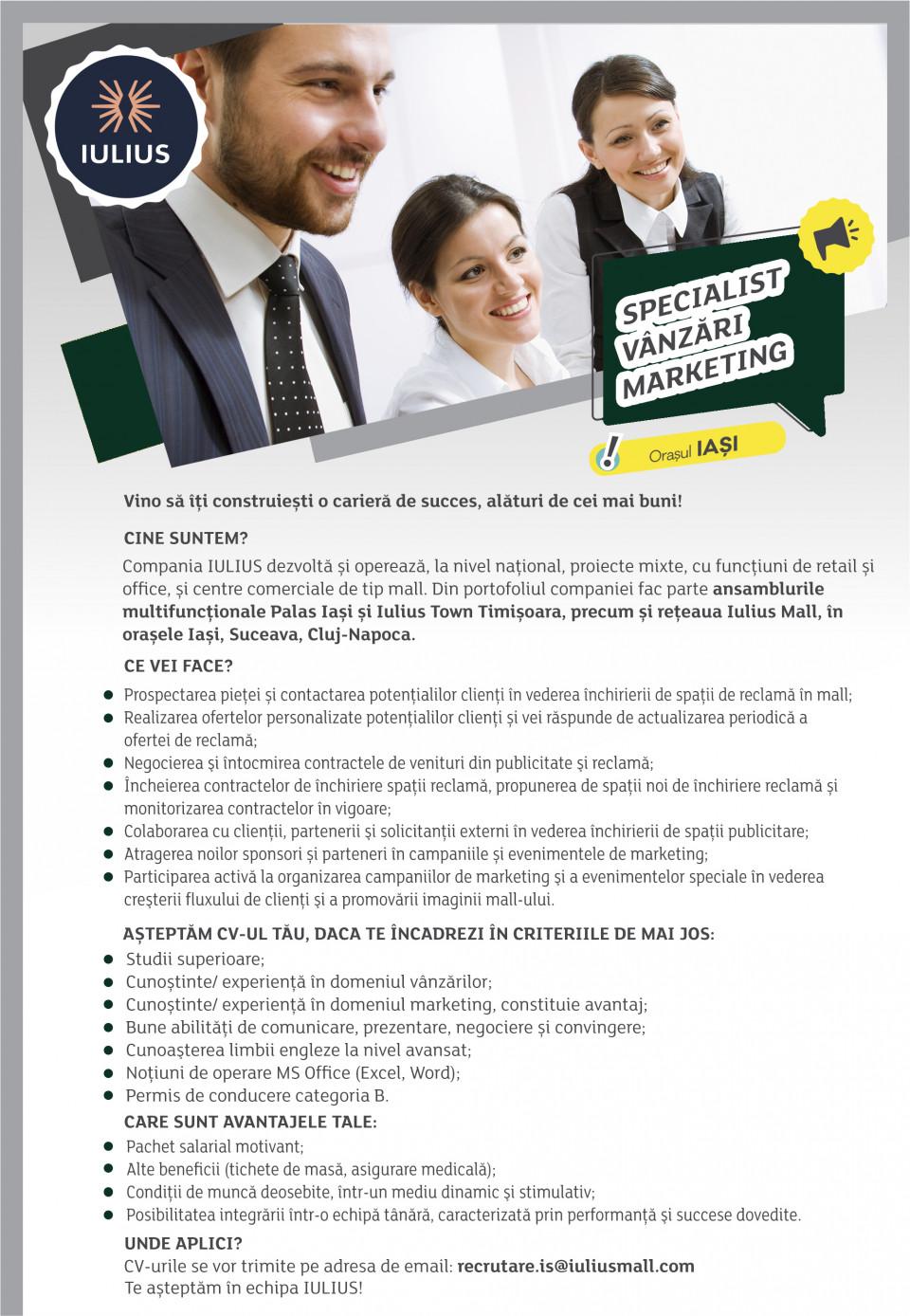Specialist Vanzari Marketing - Iasi
