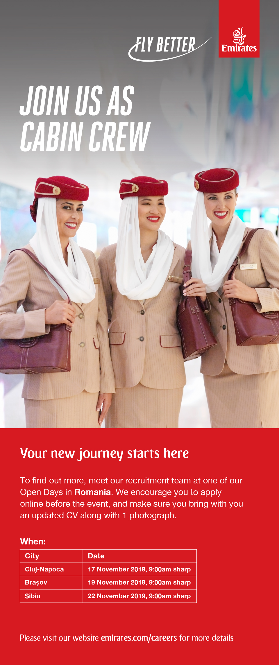 Cabin Crew, Cluj, Brasov, Sibiu