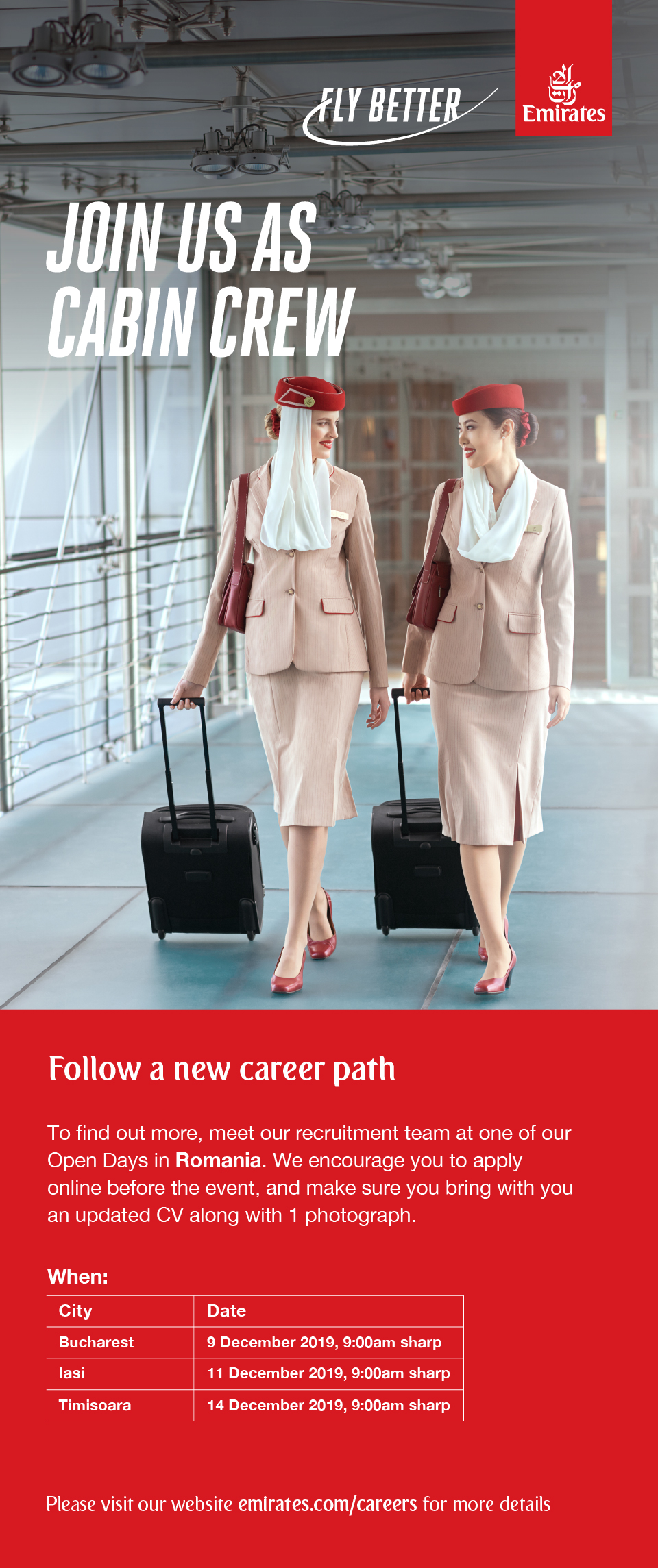 Cabin Crew, Bucuresti, Iasi, Timisoara