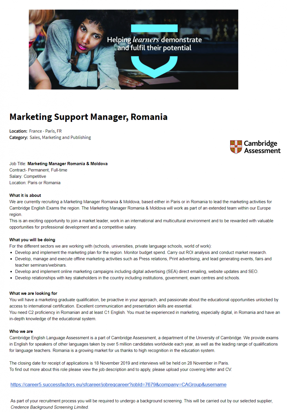 Marketing Manager Romania & Moldova