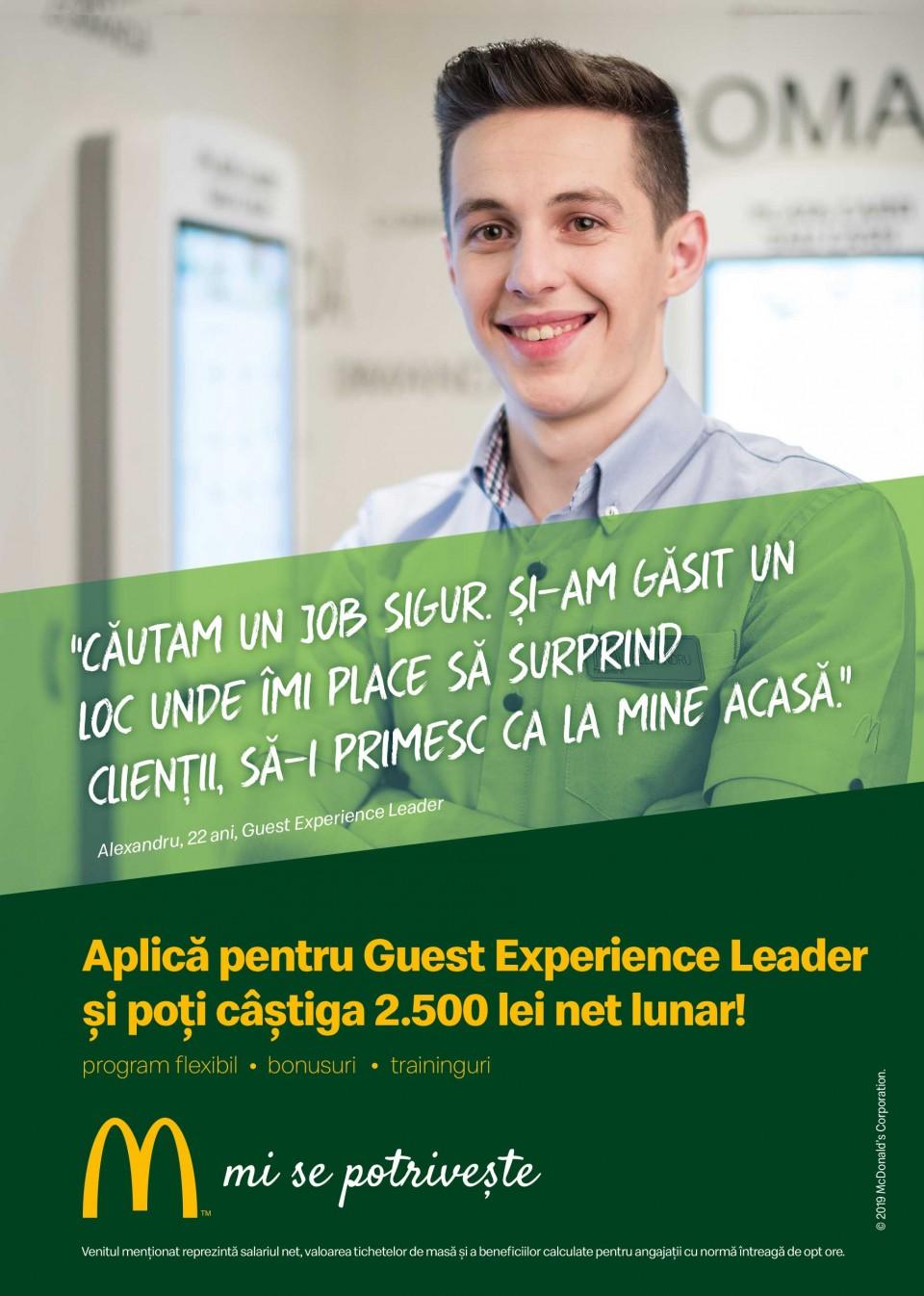 Cei 5.000 de angajați ai McDonald's în România știu ce înseamnă puterea unui zâmbet.  Echipa McDonald's e formată din oameni muncitori, ambițioși, pentru care interacțiunea cu alți oameni este o bucurie. În fiecare zi, angajații McDonald's întâmpină peste 210.000 de clienți. Ne dorim să aducem în echipa noastră colegi dornici să învețe și să crească în cadrul unei echipe puternice și ambițioase.  McDonald's a deschis primul restaurant în România pe 16 iunie 1995, în Unirea Shopping Center din București. A fost primul pas în construirea unei povești de succes, care se dezvoltă în fiecare an.  În 2016, McDonald's în România a devenit Premier Restaurants România, ca urmare a parteneriatului pentru dezvoltare încheiat cu Premier Capital, compania malteză care coordonează operațiunile McDonald's din șase țări europene: Estonia, Grecia, Letonia, Lituania, Malta și România.  Astăzi, McDonald's are 78 de restaurante în 23 de orașe din România și este liderul pieței de restaurante cu servire rapidă. În același timp, lanțul McCafé, are în prezent 33 de cafenele în România și crește de la an la an.