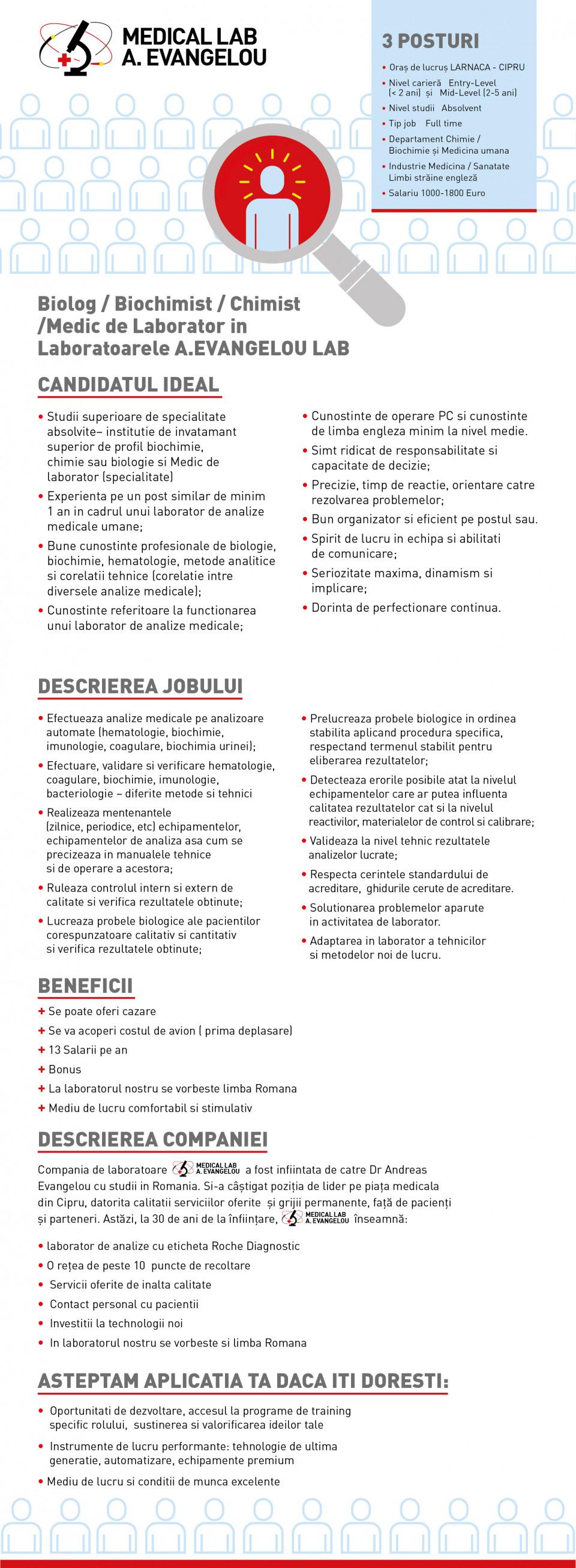 Biolog/biochimist/chimist/medic de laborator  A.EVANGELOU BIODIAGNOSTIKI LTD este un laborator de analize medicale care se afla in Larnaca - Cipru. Laborator cu o istorie de 30 de anii oferind servicii in toate domenii cum sint : Haematologie- Microbiologie - Biochimie - Immunologie - Hormoni - Neurologie - Allergologie . Laborator de technologie inalta la care se foloseste aparatura de ultima ora.