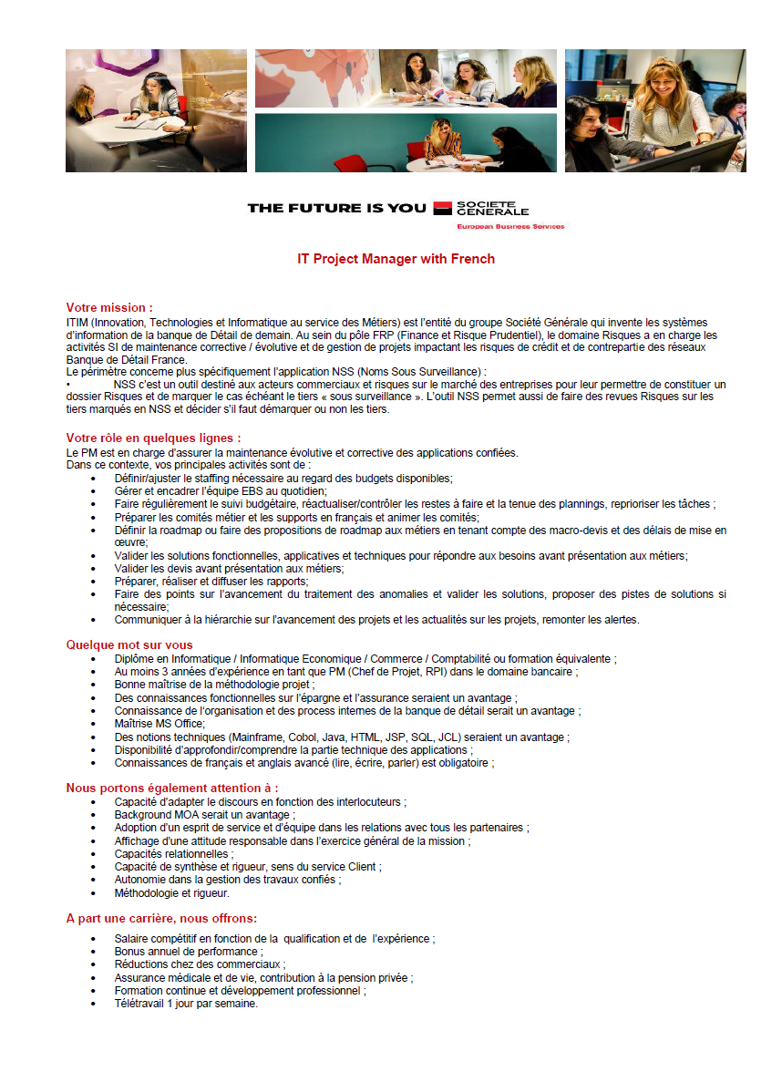 it project manager with french  societe generale european