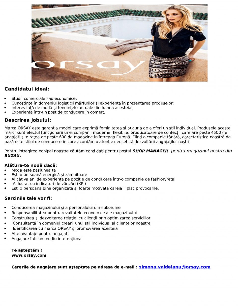 shop manager - buzau  orsay