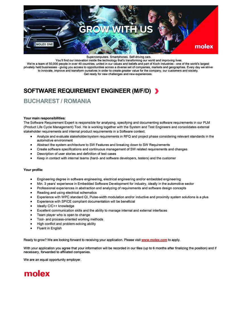 software requirement engineer  molex cvs srl