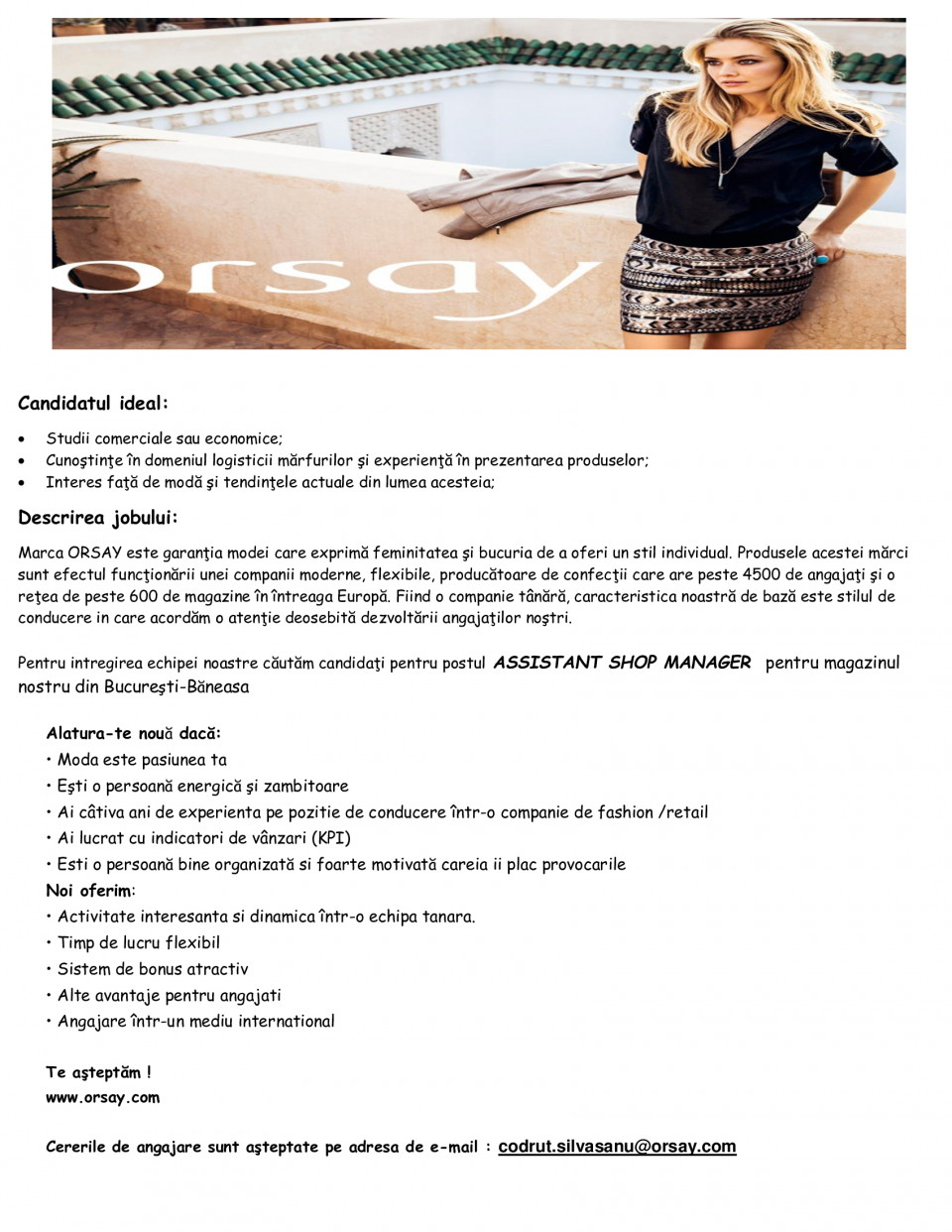 assistant shop manager - bucuresti baneasa  orsay