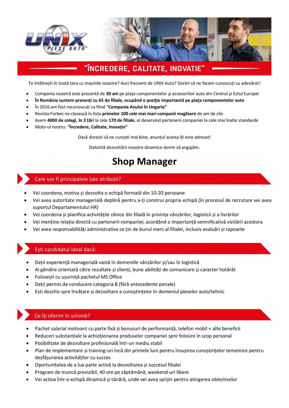 Shop Manager   INCREDERE, CALITATE, INOVATIE