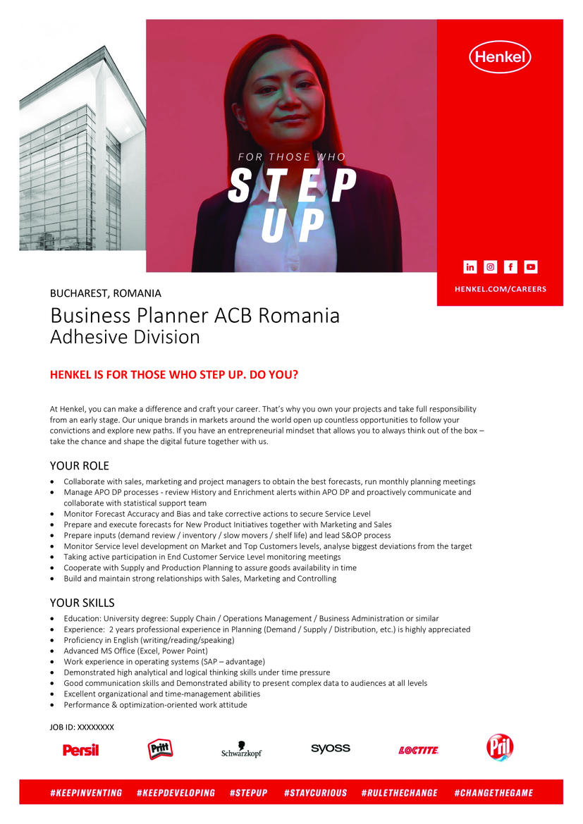 BUCHAREST, ROMANIA Business Planner ACB Romania Adhesive Division 