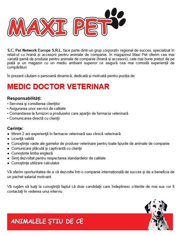 MEDIC VETERINAR. MEDIC VETERINAR. MAXI PET - Pet Center Trade S.R.L.