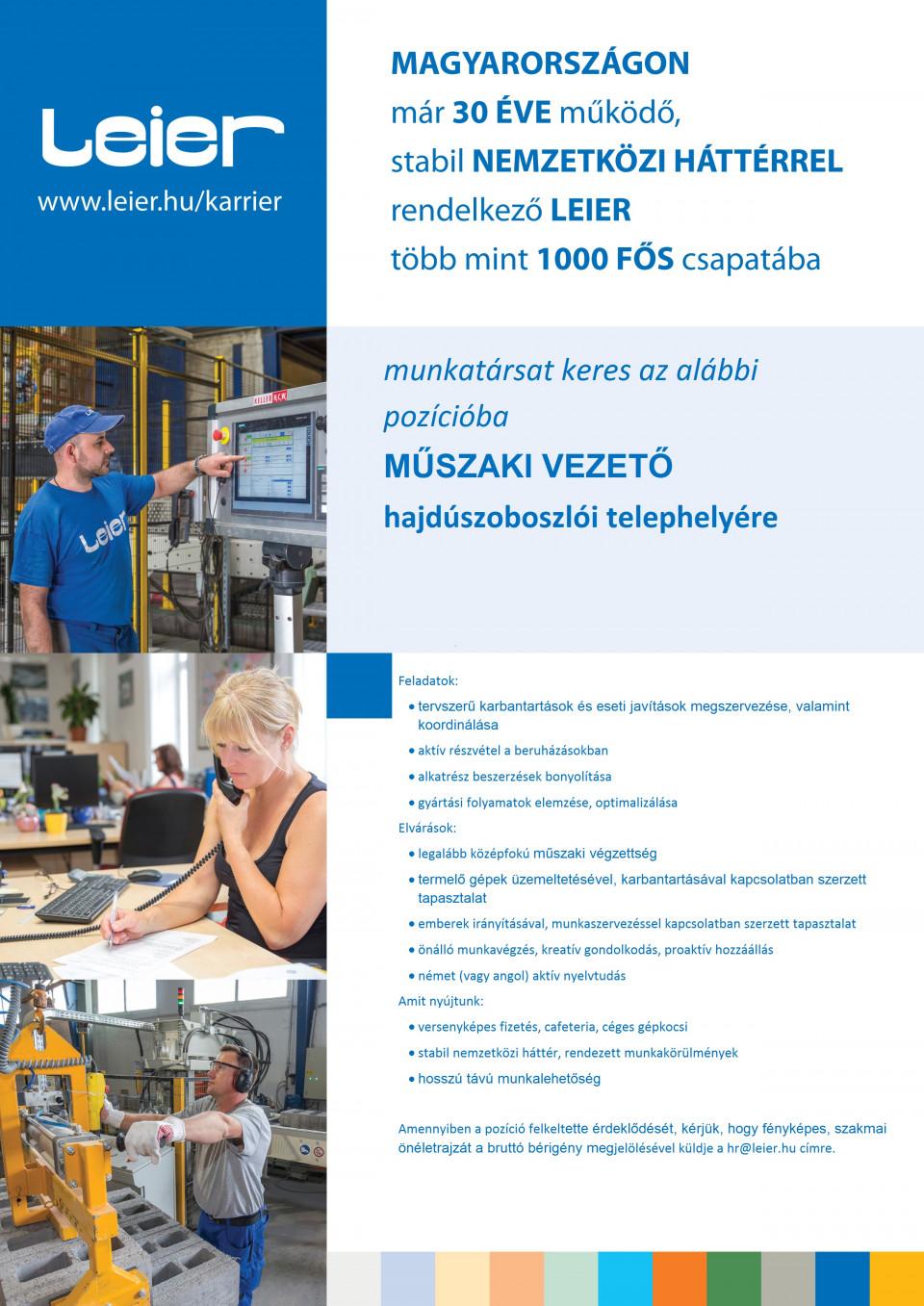 Műszaki Vezető / Conducator tehnic Leier- Hajdúszoboszló