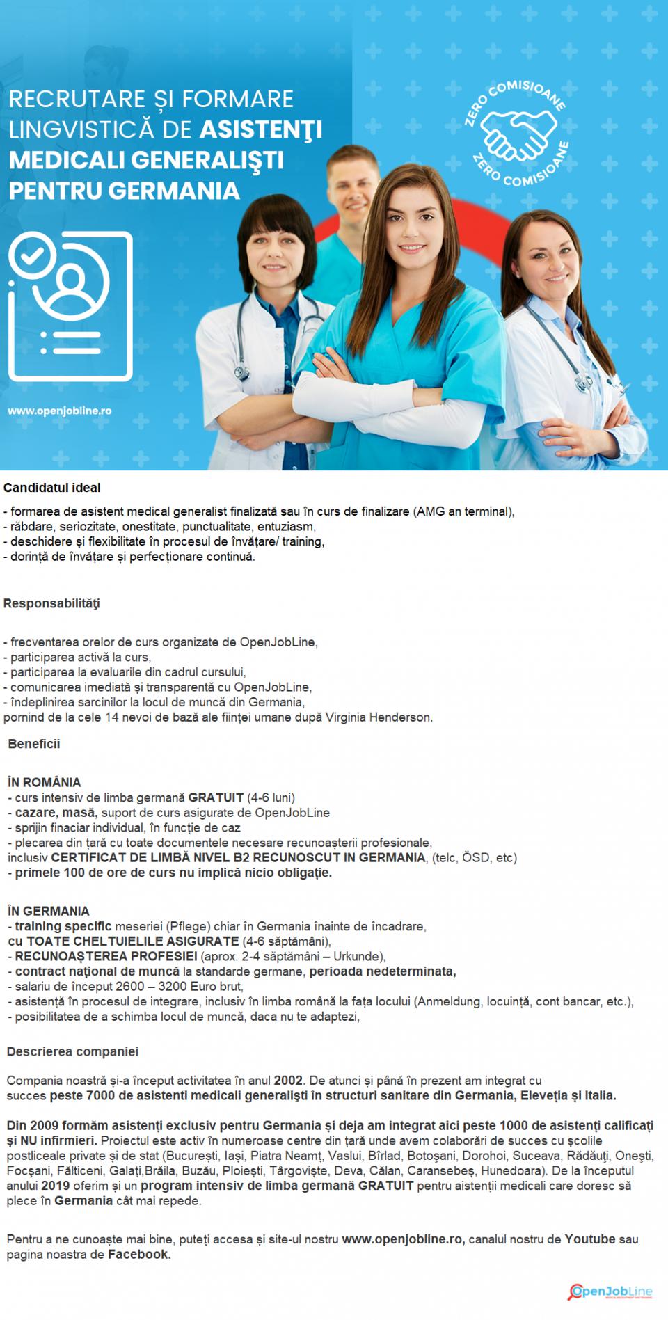 OpenJobLine caută asistenți medicali generaliști absolvenți sau în an terminal pentru formare lingvistică (limba germană) și angajare în structuri sanitare din Germania, FĂRĂ COMISIOANE. Cerinţe: - formarea de asistent medical generalist finalizată sau în curs de finalizare (AMG an terminal), - răbdare, seriozitate, onestitate, punctualitate, entuziasm, - deschidere și flexibilitate în procesul de învățare/ training, - dorință de învățare și perfecționare continuă. Responsabilităţi: - frecventarea orelor de curs organizate de OpenJobLine, - participarea activă la curs, - participarea la evaluarile din cadrul cursului, - comunicarea imediată și transparentă cu OpenJobLine, - îndeplinirea sarcinilor la locul de muncă din Germania, pornind de la cele 14 nevoi de bază ale ființei umane după Virginia Henderson.  Beneficii:  ÎN ROMÂNIA - curs intensiv de limba germană GRATUIT (4-6 luni) - cazare, masă, suport de curs asigurate de OpenJobLine - sprijin finaciar individual, în funcție de caz - plecarea din țară cu toate documentele necesare recunoașterii profesionale, inclusiv CERTIFICAT DE LIMBĂ NIVEL B2 RECUNOSCUT IN GERMANIA, (telc, ÖSD, etc) - primele 100 de ore de curs nu implică nicio obligație.  ÎN GERMANIA - training specific meseriei (Pflege) chiar în Germania înainte de încadrare, cu TOATE CHELTUIELILE ASIGURATE (4-6 săptămâni), - RECUNOAȘTEREA PROFESIEI (aprox. 2-4 săptămâni – Urkunde), - contract național de muncă la standarde germane, perioada nedeterminata, - salariu de început 2300 – 3200 Euro brut, - asistență în procesul de integrare, inclusiv în limba română la fața locului (Anmeldung, locuință, cont bancar, etc.), - posibilitatea de a schimba locul de muncă, daca nu te adaptezi,  BONUSURI 300 Euro – dacă mai recomanzi un prieten care va pleca cu noi în Germania 1500 Euro – dacă ai deja certificat de limbă nivel B2 și pleci cu noi în Germania 2000 Euro – dacă ai recunoașterea calificării în Germania și ni te alături Compania noastră și-a început activitate